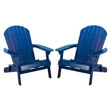 Adarondak Chair Hanlee Set Of 2 Folding Wood Adirondack Chair Navy Blue