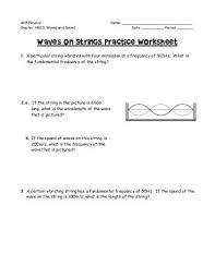 28 standing waves worksheet 2π y ym sin x λf waves on