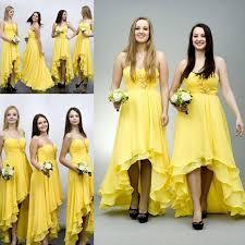 stunning bridesmaid dresses online elegant yellow chiffon high low