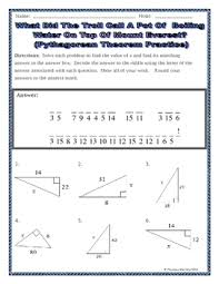 right triangles geometry pythagorean theorem riddle worksheet tpt
