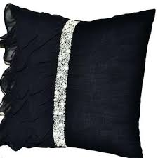 Elegant White And Silver Throw Pillows Black Ruffled Sequin
