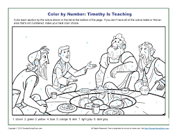 timothy is teaching color by number page