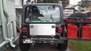 jeep wrangler storage rokmen drop down aluminum tailgate w storage compartment installed