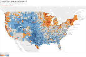 Red States Blue States Map by The Least Predictable Counties In The United States