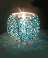 blue tea light candles merarki indian style cracked glass tea light candle holders with