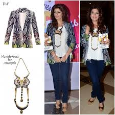 yay or nay twinkle khanna in dvf and manish arora for amrapali