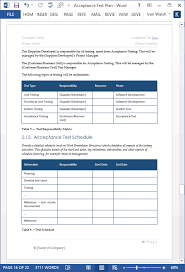 acceptance test report template acceptance test plan template ms word instant