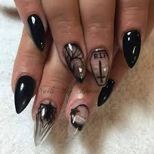 black claws occult stiletto nails rip negative space black claws