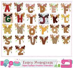 reindeer letters applique monograms applique