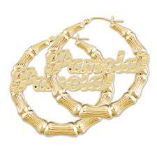 hoop earrings with name 10k gold personalized name bamboo hoop earrings 2 inch