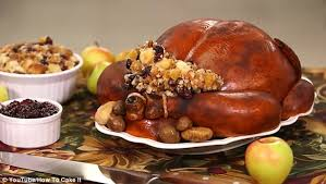 yolanda g crafts a realistic thanksgiving turkey dinner out of