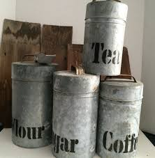 canister set galvanized aluminum vintage 1960s by 2barnpickers