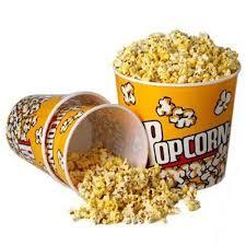 amazon com set of 3 fun movie theater style plastic popcorn tubs