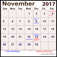 november 2017 calendar with holidays for free printable monthly