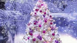 white christmas tree pink purple ornaments on we heart it