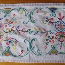 Serape Table Runner White Hand Embroidered Table Runner From Vintagepolkashop On