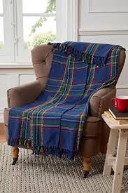 plaid coton canapé tartan motif à carreaux plaid pour canapé fauteuil lit coton bleu