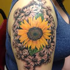 rose flower and sunflower tattoo
