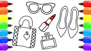 how to draw set of female accessories coloring pages for girls
