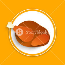 happy thanksgiving day concept with chicken leg on orange background