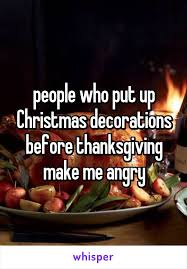 putting up decorations before thanksgiving