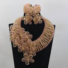 earrings statement necklace images Dubai luxury wedding jewelry set peach crystal statement necklace jpg