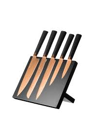 coloured kitchen knives set viners titanium copper knife block 6 piece contemporary style