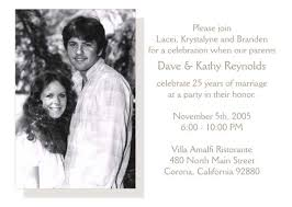 25th wedding anniversary invitations 25th wedding anniversary invitation style 2 sle d