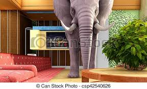 elephant in the living room pink elephant in the living room 3d rendering elephant in clip