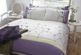 purple lavender cream floral duvet quilt cover embroidered
