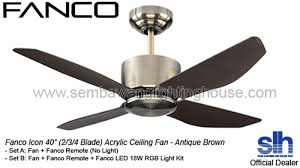 48 ceiling fan with light fanco icon 40 48 acrylic ceiling fan antique brown sembawang