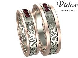 unique matching wedding bands princess cut ruby unique matching wedding bands vidar jewelry