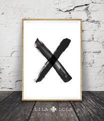 black and white x wall art brush stroke cross print modern