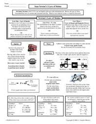 isaac newton u0027s 3 laws of motion 10th higher ed worksheet
