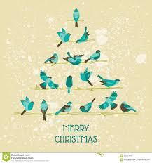 retro christmas cards retro christmas card birds on christmas tree stock photo image