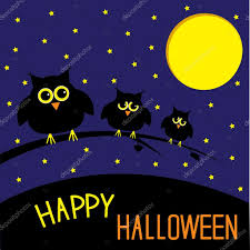 three cute owls starry night and moon happy halloween card