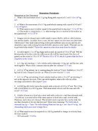 momentum worksheets 1 collision momentum