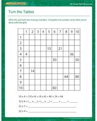 6th grade math worksheets turn the tables free multiplication and addition worksheets