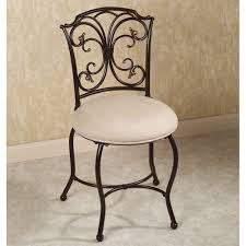 Vanity Chairs For Bathroom Ornate Black Cast Iron Vanity Chair With Velvet Seat Cushion