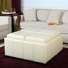 Ottoman Used As Coffee Table 25 White Leather Ottomans Square Rectangle