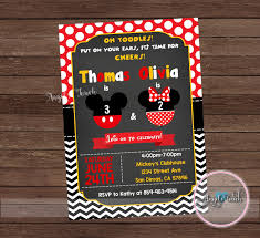 mickey and minnie mouse combined party invitation mickey