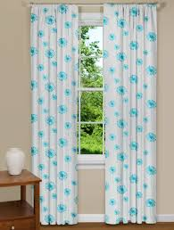 Curtains With Turquoise Flowers With A Modern Twist In This Dandelion Curtain Panel