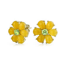 sharp earrings gold vermeil flower peridot yellow jade cluster stud earrings