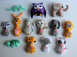 4 stuffed felt animal ornaments bundle pack of 4 animals
