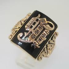 mens monogram ring men s 14k gold diamond j monogram initial signet ring size 11