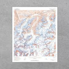 United States Map Poster by Denali National Park 1954 Usgs Map