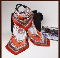 big colorful silk square scarf best gift for ladies friend