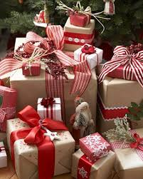 country christmas wrapping paper the brown paper embellished with ribbons and bows