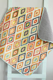 baby quilt grey aztec geometric tribal petunias blanket crib