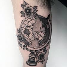Male Flower Tattoos - 80 globe tattoo designs for men traveler ink ideas